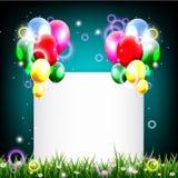 Предпосылка дня рождения с местом для украшения текста и травы бесплатная иллюстрация