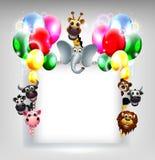 Предпосылка дня рождения с сафари воздушного шара и животного на пустом знаке иллюстрация штока