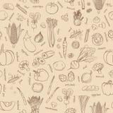 Предпосылка овощей вектора овощи картины безшовные Стоковые Фотографии RF