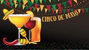 Предпосылка овсянки Cinco De Mayo широкоэкранная иллюстрация вектора