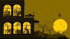 Предпосылка дома хеллоуина Стоковое Изображение RF