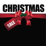 Предпосылка орнамента продажи рождества с большим красным смычком Стоковое фото RF