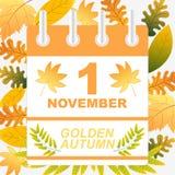 Предпосылка осени первом -го в ноябре золотая Стоковые Фотографии RF