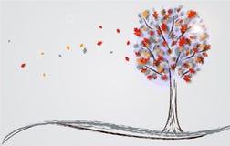 Предпосылка осени с деревом Стоковое Изображение