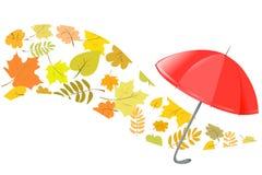 Предпосылка осени с зонтиком Стоковые Фото
