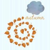 Предпосылка осени с листьями и облаками. иллюстрация штока