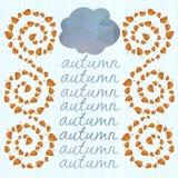Предпосылка осени с листьями и облаками. бесплатная иллюстрация