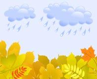 Предпосылка осени с листьями и дождем Стоковая Фотография RF