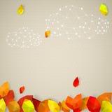 Предпосылка осени с облаками и листьями в низко-поли триангулярном Стоковая Фотография RF