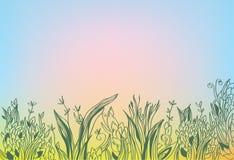 Предпосылка осени с травой и заревом бесплатная иллюстрация