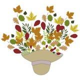 Предпосылка осени с шляпой и листьями Стоковое Изображение