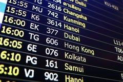 Предпосылка доски полета Чанши, Khunming, Ханоя, Дубай, Hon Стоковые Изображения