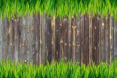 Предпосылка доск зеленой травы и коричневого цвета стоковое фото rf
