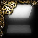 Предпосылка отполированная металлом с шестернями cogwheel Стоковое Изображение