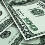 Предпосылка от немного примечаний США 100 долларов Стоковые Изображения