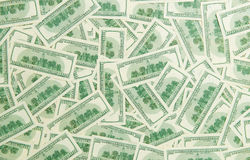 Предпосылка от разбросанных банкнот доллара как абстрактный безшовный Стоковое Изображение RF