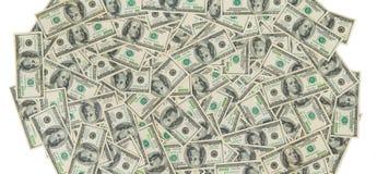 Предпосылка от разбросанных банкнот доллара как абстрактный безшовный Стоковая Фотография