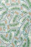 Предпосылка от разбросанных банкнот доллара как абстрактный безшовный Стоковое Изображение