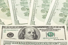 Предпосылка долларовых банкнот США 100 Стоковые Фото