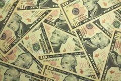 Предпосылка 10 долларовых банкнот Стоковое Изображение