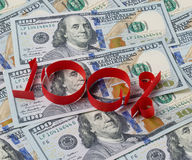 Предпосылка долларов и 100 процентов Стоковые Изображения RF
