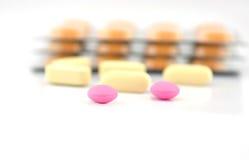 Предпосылка пакета таблетки и волдыря Стоковая Фотография