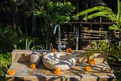 Предпосылка парка водопроводного крана внешняя зеленая в Ubud, Бали, Индонезии Стоковые Изображения