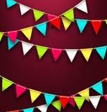 Предпосылка партии с красочными флагами овсянки на праздники Стоковое Фото
