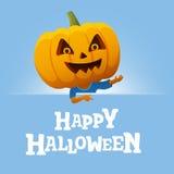 Предпосылка партии хеллоуина Человек с головой тыквы Стоковое фото RF