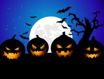 Предпосылка партии Halloween с тыквами Стоковые Изображения