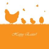 Предпосылка пасхи с цыплятами Стоковое Изображение