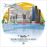 Предпосылка перемещения и путешествия ориентир ориентира Соединенных Штатов Америки иллюстрация штока