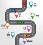 Предпосылка перемещения Infographic дороги с метками остановок в пути указателей бесплатная иллюстрация