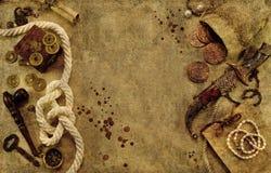 Предпосылка пирата с объектами моря Стоковое фото RF
