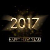 Предпосылка 2017 поздравительной открытки Нового Года золота Стоковое Фото