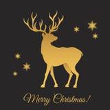 Предпосылка поздравительной открытки с северным оленем золота и декорумами рождества Стоковая Фотография