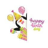 Предпосылка поздравительой открытки ко дню рождения с днем рождений с милым пингвином. Стоковое фото RF