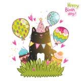 Предпосылка поздравительой открытки ко дню рождения с днем рождений с собакой. Стоковая Фотография RF