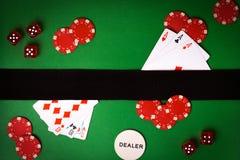 Предпосылка покера с играя карточками Стоковые Изображения RF
