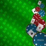 Предпосылка покера с элементами игры Стоковое Изображение RF