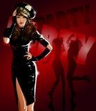 Предпосылка покрашенная красным цветом с девушками танцев Стоковые Изображения RF