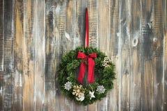 Предпосылка постаретая рождеством деревянная Стоковая Фотография RF