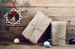 Предпосылка подарка на рождество handmade деревянная Стоковые Фото
