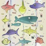 Предпосылка подводной жизни безшовная Стоковое Изображение