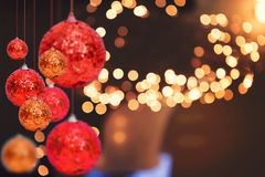 Предпосылка праздника рождества над bokeh зимы Стоковое Изображение RF