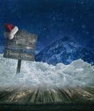Предпосылка праздника рождества с столбом знака Стоковые Изображения RF