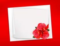 Предпосылка праздника с листом бумаги и красным flo Стоковые Изображения RF