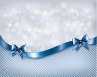 Предпосылка праздника с смычком и лентой подарка лоснистыми Стоковые Фотографии RF