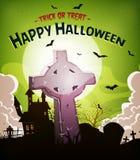 Предпосылка праздников хеллоуина с христианской надгробной плитой иллюстрация вектора