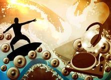 Предпосылка прибоя и музыки Стоковая Фотография RF